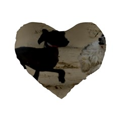 2 Chinese Crested Playing Standard 16  Premium Flano Heart Shape Cushions