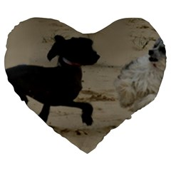2 Chinese Crested Playing Large 19  Premium Flano Heart Shape Cushions