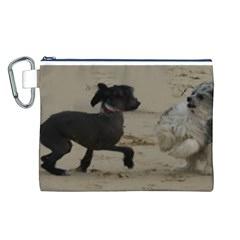 2 Chinese Crested Playing Canvas Cosmetic Bag (l)