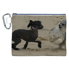 2 Chinese Crested Playing Canvas Cosmetic Bag (xxl)