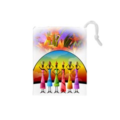 African American Women Drawstring Pouches (small)
