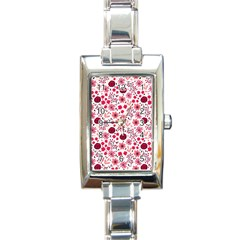 Red Floral Seamless Pattern Rectangle Italian Charm Watch