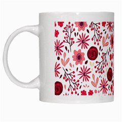 Red Floral Seamless Pattern White Mugs