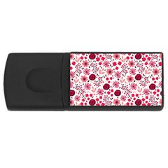 Red Floral Seamless Pattern Rectangular Usb Flash Drive