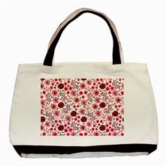 Red Floral Seamless Pattern Basic Tote Bag