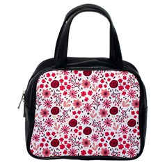 Red Floral Seamless Pattern Classic Handbags (one Side)