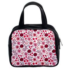 Red Floral Seamless Pattern Classic Handbags (2 Sides)