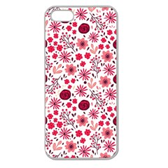 Red Floral Seamless Pattern Apple Seamless Iphone 5 Case (clear)