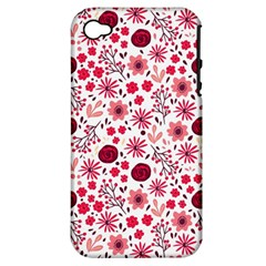 Red Floral Seamless Pattern Apple Iphone 4/4s Hardshell Case (pc+silicone)
