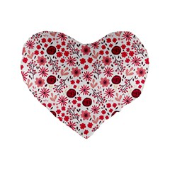 Red Floral Seamless Pattern Standard 16  Premium Flano Heart Shape Cushions