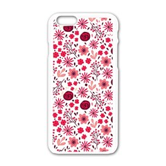 Red Floral Seamless Pattern Apple Iphone 6/6s White Enamel Case