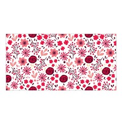 Red Floral Seamless Pattern Satin Shawl