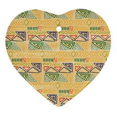 Hand Drawn Ethinc Pattern Background Heart Ornament (two Sides)