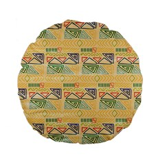 Hand Drawn Ethinc Pattern Background Standard 15  Premium Flano Round Cushions