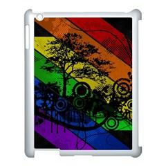 Trees Stripes Lines Rainbow  Apple Ipad 3/4 Case (white)