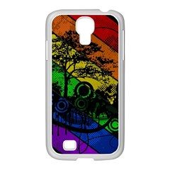 Trees Stripes Lines Rainbow  Samsung Galaxy S4 I9500/ I9505 Case (white)