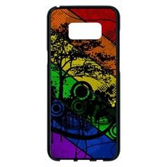 Trees Stripes Lines Rainbow  Samsung Galaxy S8 Plus Black Seamless Case