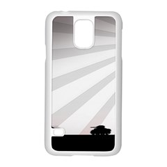 Shooting Tank Person Tree Sun  Samsung Galaxy S5 Case (white)