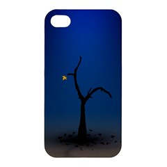 Tree Lonely Blue Orange Dark  Apple Iphone 4/4s Premium Hardshell Case
