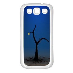 Tree Lonely Blue Orange Dark  Samsung Galaxy S3 Back Case (white)