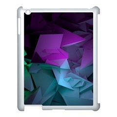 Abstract Shapes Purple Green  Apple Ipad 3/4 Case (white)