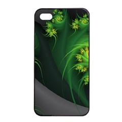Abstraction Embrace Fractal Flowers Gray Green Plant  Apple Iphone 4/4s Seamless Case (black)