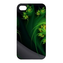 Abstraction Embrace Fractal Flowers Gray Green Plant  Apple Iphone 4/4s Hardshell Case