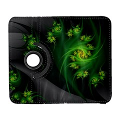Abstraction Embrace Fractal Flowers Gray Green Plant  Galaxy S3 (flip/folio)