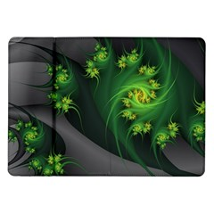 Abstraction Embrace Fractal Flowers Gray Green Plant  Samsung Galaxy Tab 10 1  P7500 Flip Case
