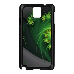 Abstraction Embrace Fractal Flowers Gray Green Plant  Samsung Galaxy Note 3 N9005 Case (black)