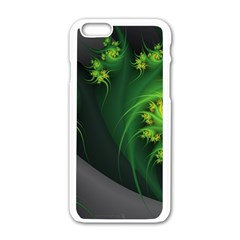Abstraction Embrace Fractal Flowers Gray Green Plant  Apple Iphone 6/6s White Enamel Case
