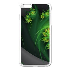 Abstraction Embrace Fractal Flowers Gray Green Plant  Apple Iphone 6 Plus/6s Plus Enamel White Case