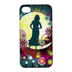 Abstraction Vector Heavens Woman Flowers  Apple Iphone 4/4s Hardshell Case With Stand