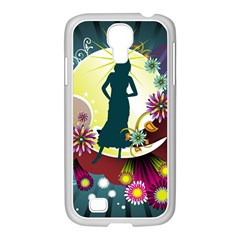 Abstraction Vector Heavens Woman Flowers  Samsung Galaxy S4 I9500/ I9505 Case (white)