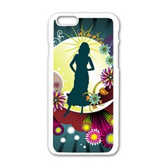 Abstraction Vector Heavens Woman Flowers  Apple Iphone 6/6s White Enamel Case