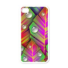 Leaves Dew Art Bright Lines Patterns  Apple Iphone 4 Case (white)