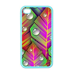 Leaves Dew Art Bright Lines Patterns  Apple Iphone 4 Case (color)