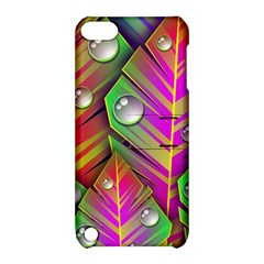 Leaves Dew Art Bright Lines Patterns  Apple Ipod Touch 5 Hardshell Case With Stand
