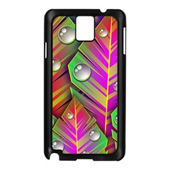 Leaves Dew Art Bright Lines Patterns  Samsung Galaxy Note 3 N9005 Case (black)