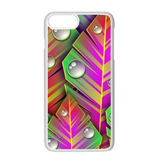 Leaves Dew Art Bright Lines Patterns  Apple Iphone 7 Plus White Seamless Case