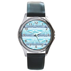 Watercolor Blue Abstract Summer Pattern Round Metal Watch