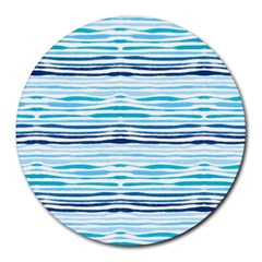 Watercolor Blue Abstract Summer Pattern Round Mousepads