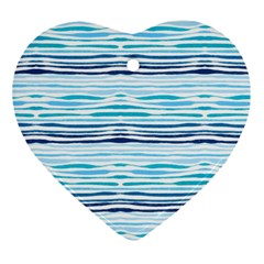 Watercolor Blue Abstract Summer Pattern Ornament (heart)
