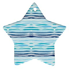 Watercolor Blue Abstract Summer Pattern Ornament (star)