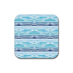 Watercolor Blue Abstract Summer Pattern Rubber Square Coaster (4 Pack)