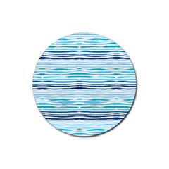 Watercolor Blue Abstract Summer Pattern Rubber Round Coaster (4 Pack)