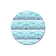 Watercolor Blue Abstract Summer Pattern Magnet 3  (round)