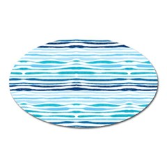 Watercolor Blue Abstract Summer Pattern Oval Magnet