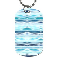 Watercolor Blue Abstract Summer Pattern Dog Tag (one Side)