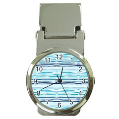 Watercolor Blue Abstract Summer Pattern Money Clip Watches
